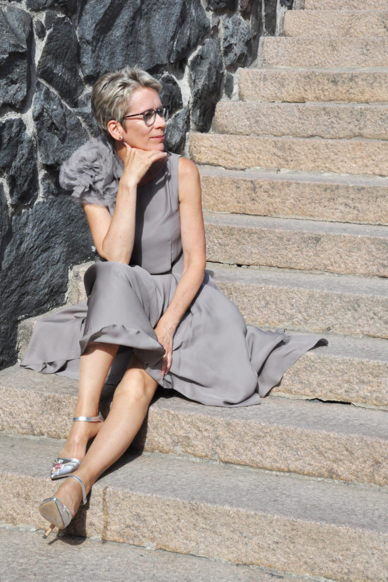 Grey silk dress with organza hand frayed flower Juulia Peuhkuri