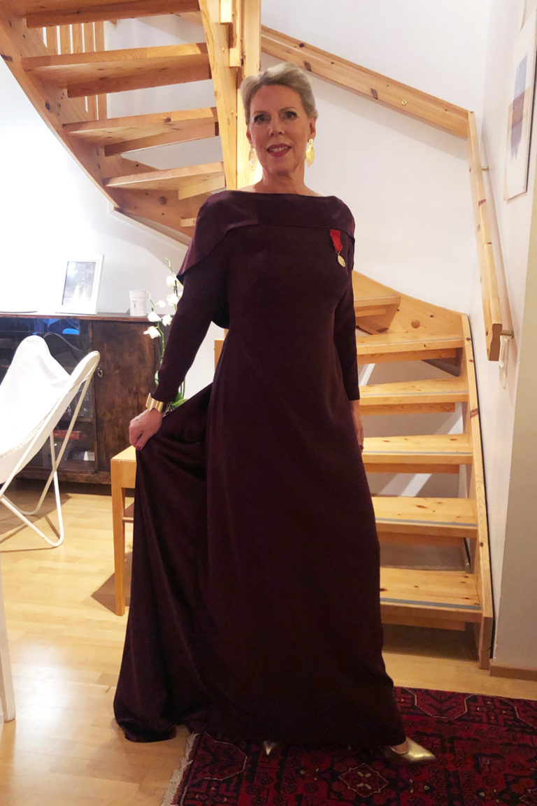 Independence Day Gala 2019, Burgundy Dress, Marja Korhola