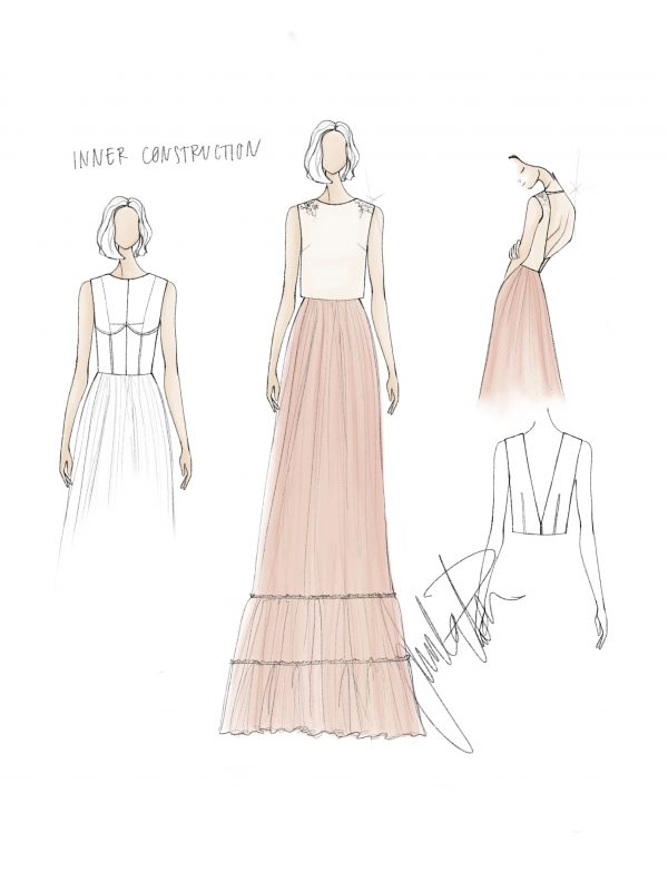 Blush gown fashion sketch Juulia Peuhkuri