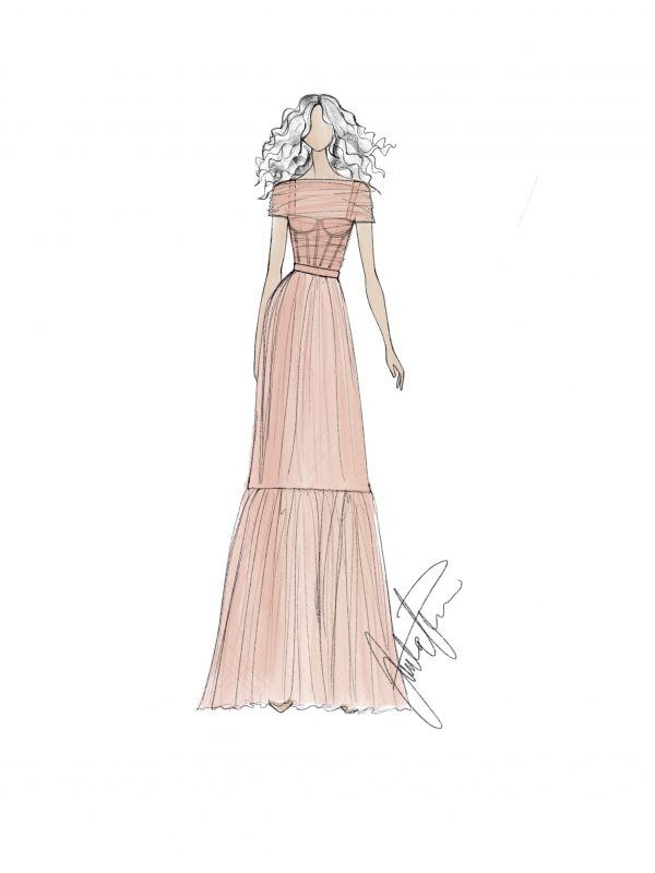 Blush gown sketch Juulia Peuhkuri