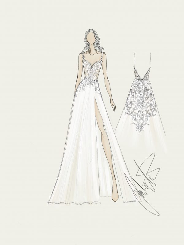 Bridal gown fashion sketch Juulia Peuhkuri