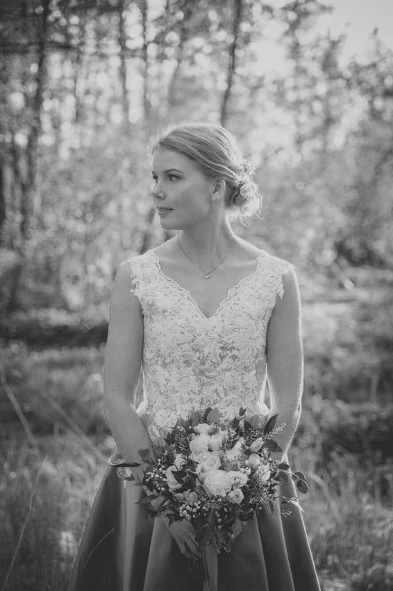 Grey and white wedding dress with lace on top, Juulia Peuhkuri Photo @Photomikke
