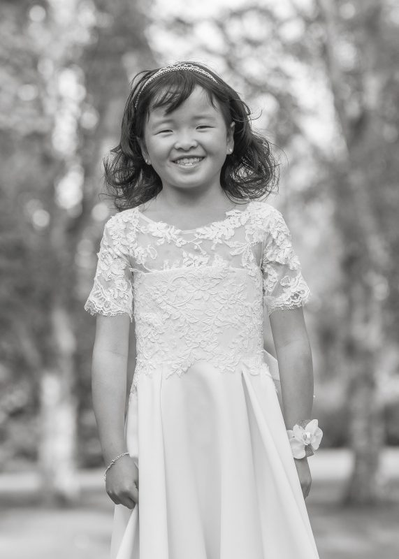 Flower girl dress matching to bridal gown, Juulia Peuhkuri, Photo Pasi Hakala - Studio Varjo