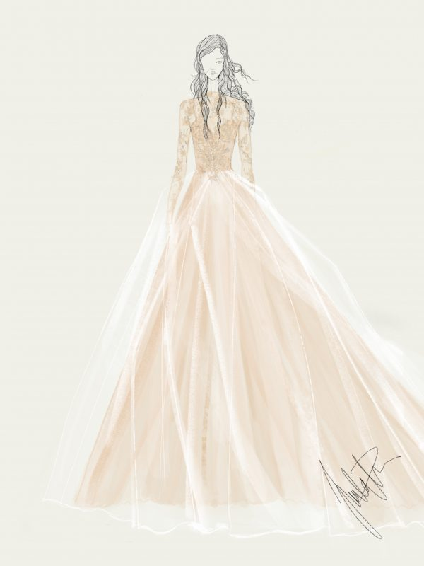 Vera Wang bridal fall 2019 fashion sketch Juulia Peuhkuri
