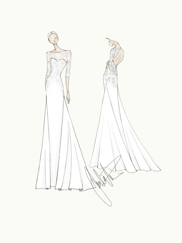 Wedding dress sketch Juulia Peuhkuri