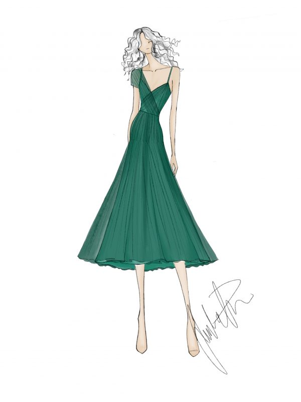 green Dress Sketch Juulia Peuhkuri